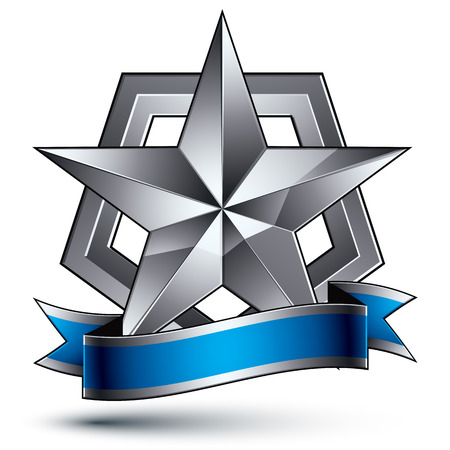 argent: Vector glorious glossy design element, luxury 3d pentagonal silver star, conceptual complicated graphic shield template with festive strip, clear EPS 8 decorative medallion. Protection theme.