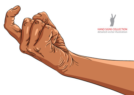 come on: Come on hand sign, African ethnicity, detailed vector illustration.