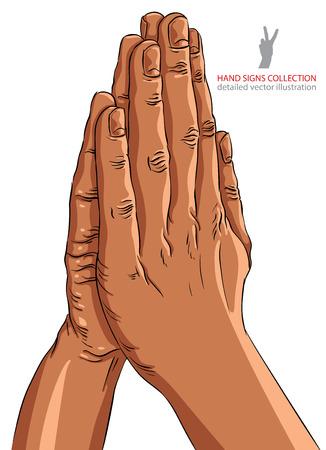 manos orando: Manos de rogación, Descendencia africana, detalló el ejemplo del vector, dibujado a mano. Vectores