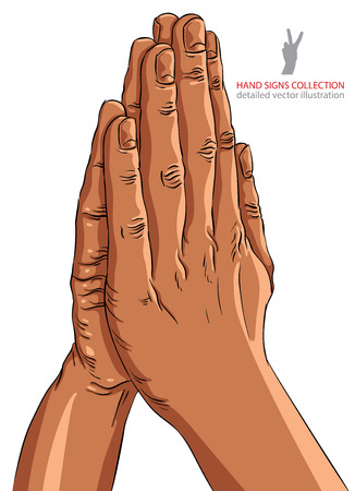 praying hands: Praying hands, African ethnicity, detailed vector illustration, hand drawn.