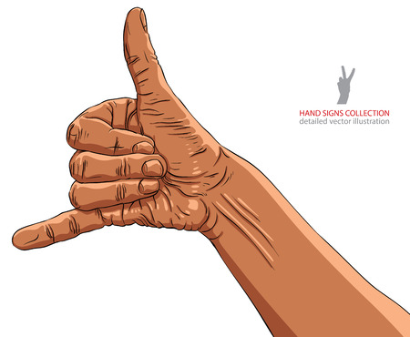 call me: Call me hand sign, African ethnicity, detailed vector illustration.