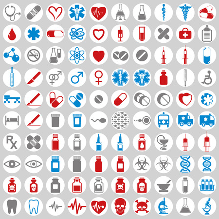 spermatozoid: 100 medical icons set, simple vectors collection. Illustration