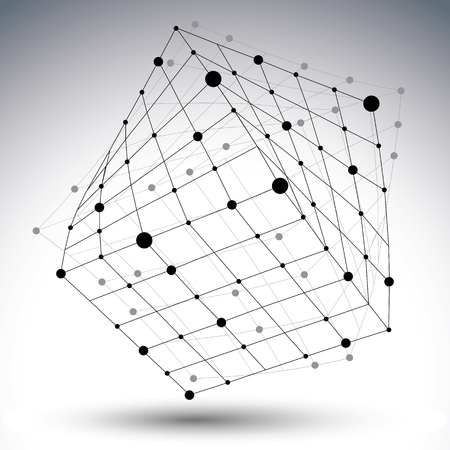 Abstract 3D structure polygonal vector network figure, contrast black and white art deformed figure isolated on white background.