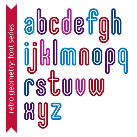 verb: Bright smooth retro geometric characters set, colorful vector rounded lowercase letters isolated on white background. Illustration