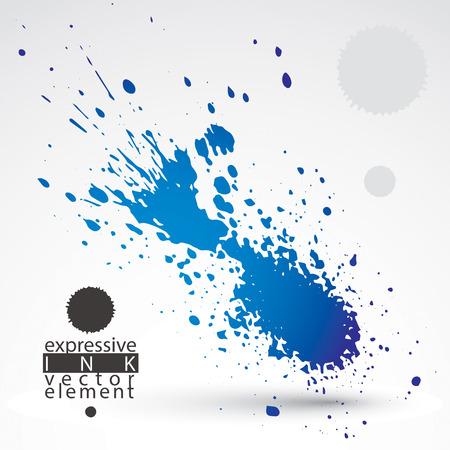 smudge: Splattered web design element, art ink blob, bright paintbrush drawing. Smudge graffiti background. Illustration