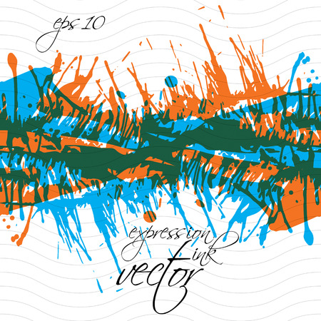 Colorful splattered web design repeat pattern, art ink blob, multilayered paintbrush drawing. Bright graffiti transparent seamless background, eps10.