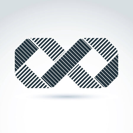 eternally: Vector infinity icon isolated on white background, illustration of striped intersect eternity symbol, geometric abstract corporate brand.