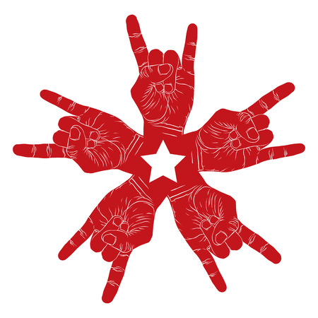 Five rock hands abstract symbol with five point star, black and white vector special emblem with human hands. Illustration