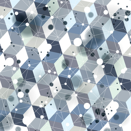 Graphic web background with spot elements and connected dots, mesh vector abstract complicated cover created from geometric transparent figures, eps10 tech illustration with motion effect.