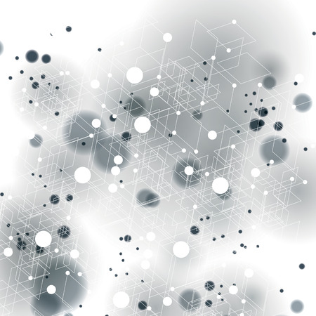 smudge: 3d spatial lattice covering, complicated op art background with smudge dots and geometric shapes, eps10. Science and technology theme. Abstract network, web backdrop.