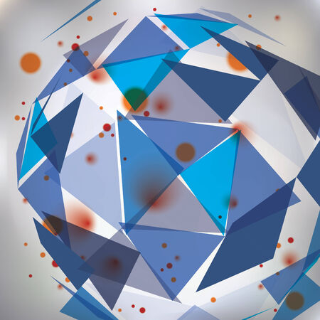 distort: Colorful op art design backdrop, abstract futuristic stylish blur background with smudge spots and polygonal figures. Transparent 3d engineering covering, technology theme.