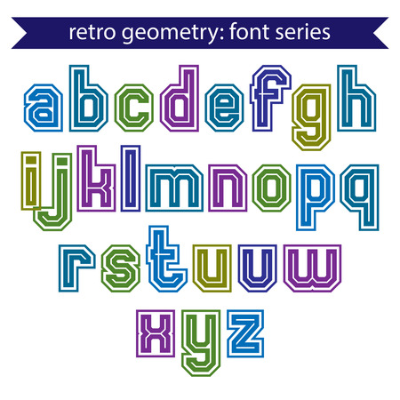 verb: Double lines geometric font with outline, colorful uppercase letters for posters and web design. Illustration