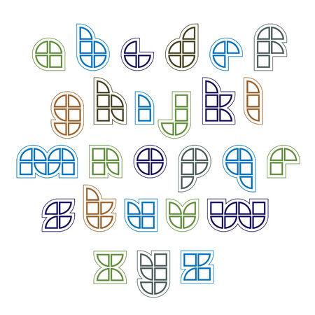 sectores: Extraordinaria fuente vectorial ronda creado a partir de los sectores y partes geom�tricas. Letras min�sculas Luz. Vectores