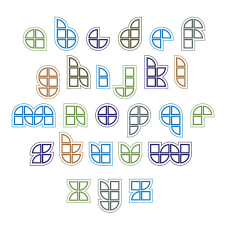 extraordinary: Extraordinary round vector font created from sectors and geometric parts. Light lowercase letters.