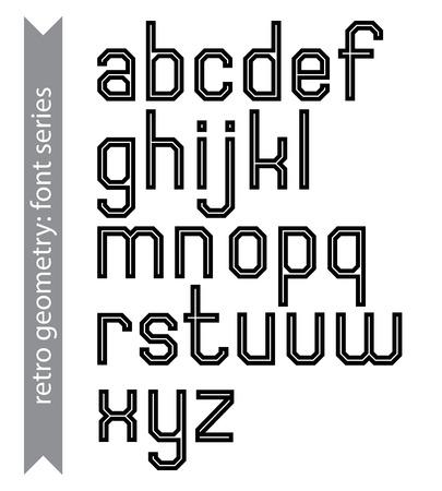 verb: Elegante Regular acut�ngulo fuente geom�trica con s�lo l�neas rectas. Sans serif mecanografiado negro. Vectores