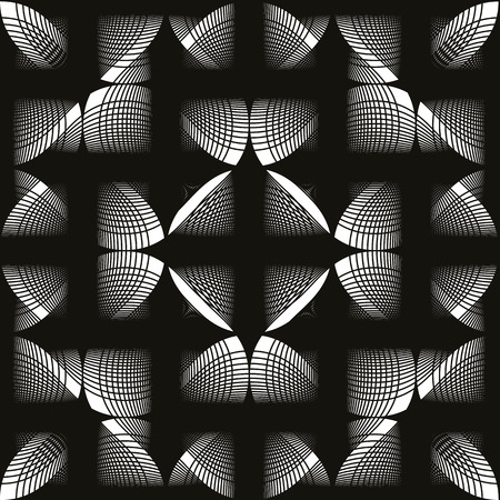 mirage: Seamless vintage floral background, monochrome geometric lined seamless pattern, black and white vector illustration. Illustration
