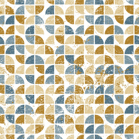 covering cells: Vector geometric colorful textile abstract seamless pattern, worn jolly mosaic canvas.