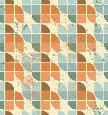 crannied: Ornamental worn textile geometric seamless pattern, vector decorative background. Illustration