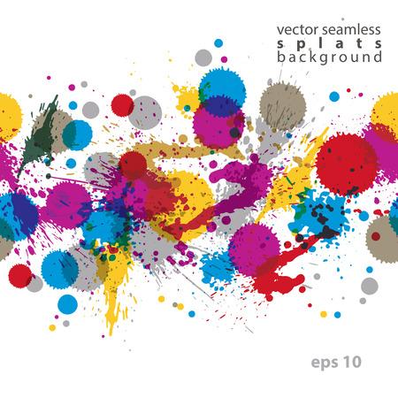imprecise: Colorful splattered web design repeat pattern, art ink blob, multilayered paintbrush drawing. Bright graffiti transparent seamless background, eps10.