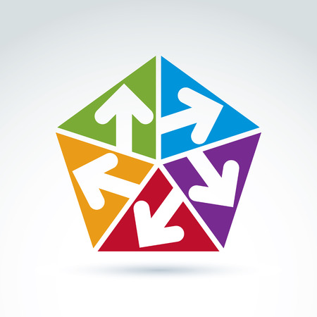 multidirectional: Vector abstract emblem with five multidirectional arrows placed in isosceles triangles – up, down, left, right. Conceptual corporate symbol, colorful pentagon icon.