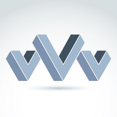 attribute: Vector abstract element gemaakt van vinkjes en drie V-borden. Geometrische symbool geïsoleerd op een witte achtergrond, corporate attribuut. Stock Illustratie
