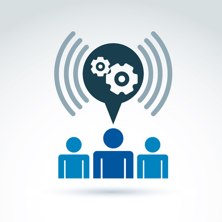 Vector illustration of conversation on enterprise system theme, strategy concept. Podcast symbol. Cog-wheels and gears placed in a speech bubble – chat on business process and management. Vector