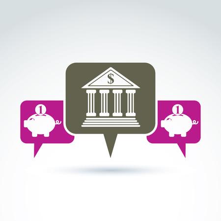 personal banking: Vector banking simbolo, icona istituto finanziario. Bolle di discorso con la costruzione della banca e rosa illustrazioni salvadanaio. Concetto di depositi personali.