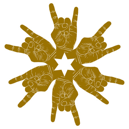 Six rock hands abstract symbol with hexagonal star, single color vector special emblem with human hands. Vector