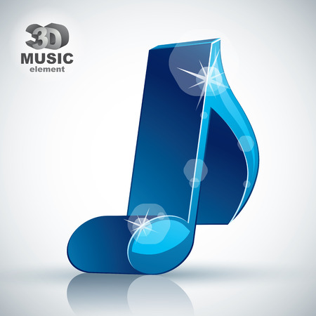 3d music: Trendy blue slim musical note 3d modern style icon isolated, 3d music element, image contain transparent shadows reflections and flares  – ready to put over any background. Illustration