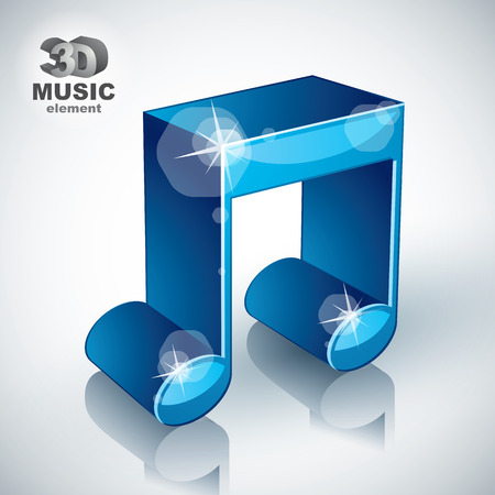 3d music: Funky blue musical note 3d modern style icon isolated, 3d music element, image contain transparent shadows reflections and flares  – ready to put over any background.