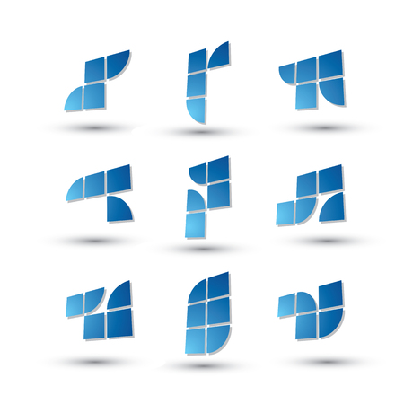 simplistic: Abstract 3d geometric simplistic symbols set, vector abstract icons.