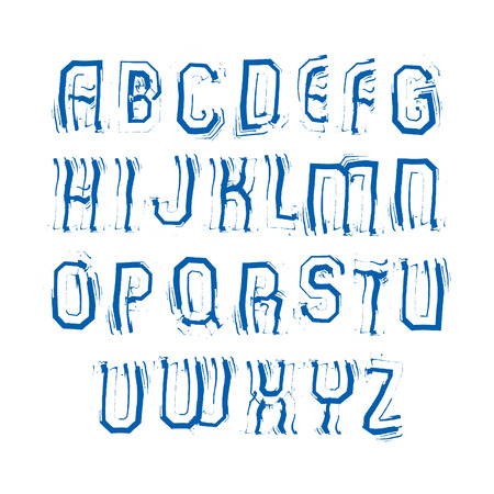 verb: Uppercase calligraphic brush letters, hand-painted bright vector alphabet.
