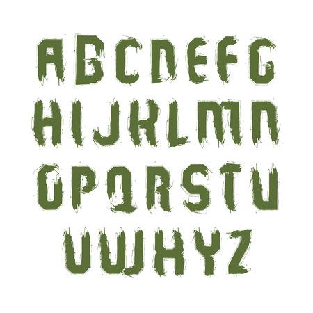 sans serif: Vector stylish brush uppercase letters, handwritten font, sans serif typeset on white background. Illustration
