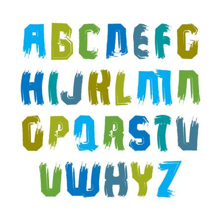 verb: Letras may�sculas manuscritas multicolores, vector del doodle mecanografiado cepillo, set pintado a mano de cartas con pinceladas.