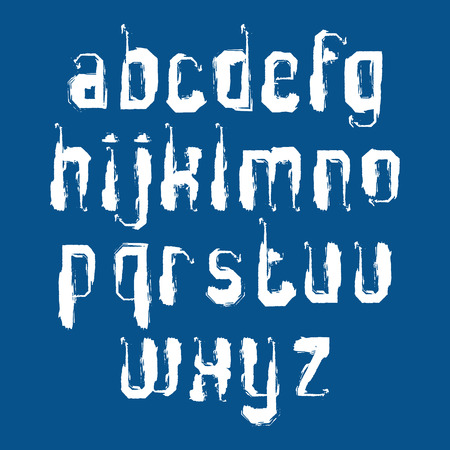 verb: Handwritten graffiti vector lowercase letters isolated on blue background, painted modern typeset.
