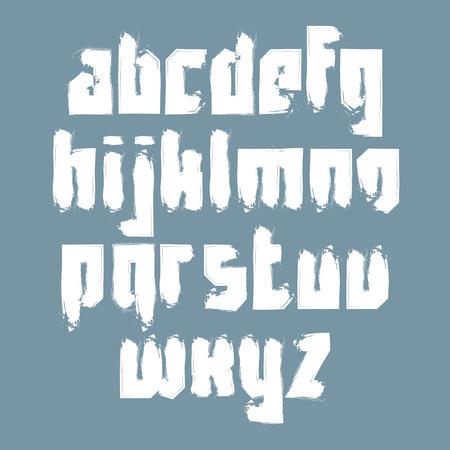 serif: Vector stylish brush lowercase letters, handwritten font, sans serif white painted typeset.