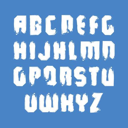 verb: Letras may�sculas vector contempor�neas escritas a mano, alfabeto pintado a mano del Doodle.