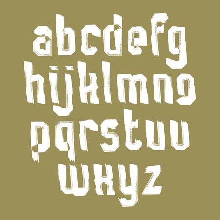 verb: Blancas min�sculas escritas a mano, vector del doodle mecanografiado cepillo, set pintado a mano de cartas con pinceladas.