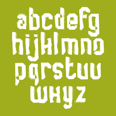 verb: Lowercase calligraphic letters drawn with ink brush, white graffiti vector font. Illustration