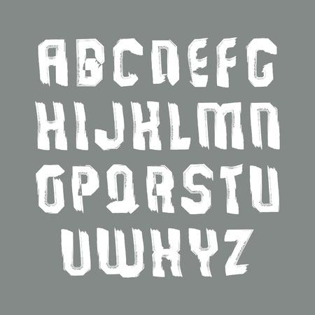 verb: Blancas contempor�neas letras min�sculas vector Manuscrito, alfabeto pintado a mano del Doodle. Vectores