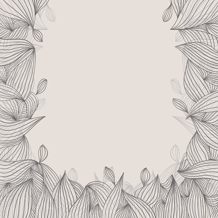 Floral elegant hand drawn framing with curls on white background, best for greetings and inscriptions. Vector