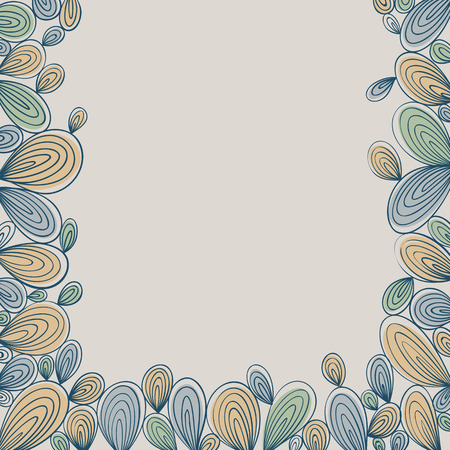 vegetal: Abstract bright hand drawn curly framing with stripes, best for greetings and inscriptions.