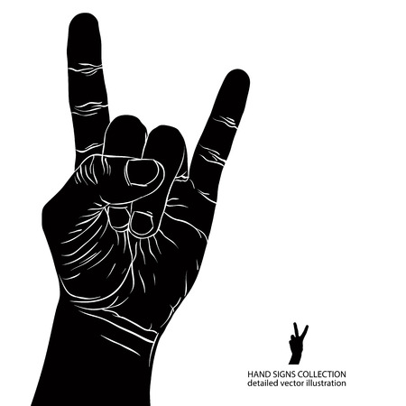 music symbols: Rock on hand sign, rock n roll, hard rock, heavy metal, music, detailed black and white vector illustration.