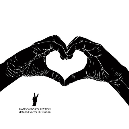 Hands in heart form, detailed black and white vector illustration. Иллюстрация