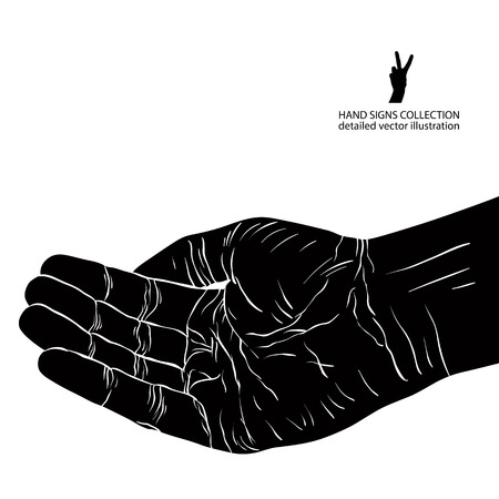 Begging hand, detailed black and white vector illustration. Vector
