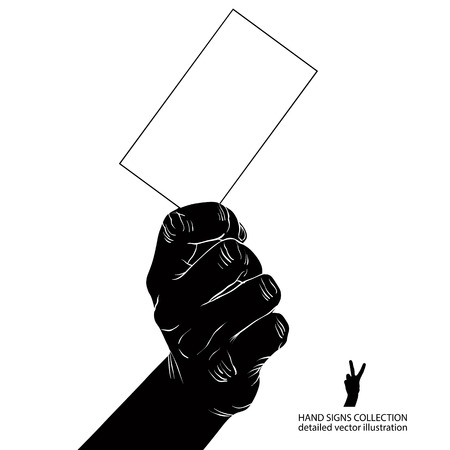 advertize: Hand with business card, detailed black and white vector illustration.