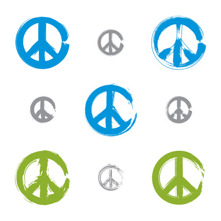 reconciliation: Set of hand drawn simple colorful vector peace icons, collection of brush drawing blue and green realistic peace symbols from 60s, hand-painted hippy signs isolated on white background.