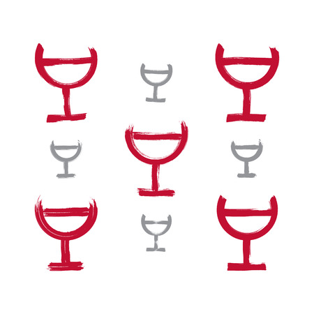 Set of hand-drawn simple half full wineglasses, collection of brush drawing goblet icons, hand-painted glass of red wine isolated on white background.