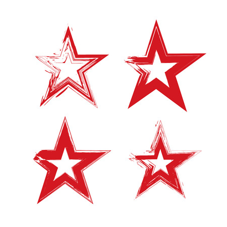 Set of hand-drawn soviet red star icons scanned and vectorized, collection of brush drawing communistic stars, hand-painted USSR symbol isolated on white background.