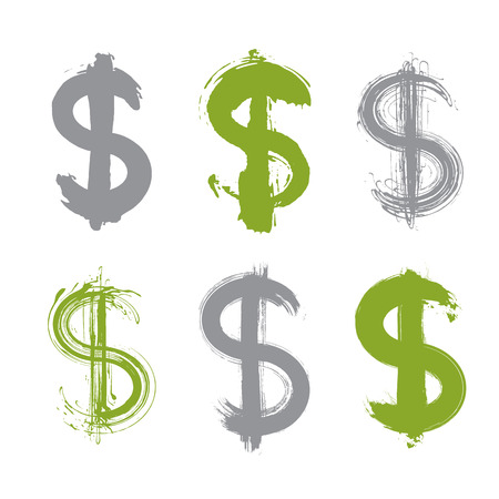 vectorized: Set of hand-painted green dollar icons isolated on white background, collection of currency symbols created with real ink hand-drawn brush scanned and vectorized, green buck signs.